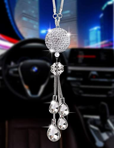 Bling Car Accessories for Women and Man,Cute Car Decor for Women ,Lucky Crystal Sun Catcher Ornament,Rear View Mirror...