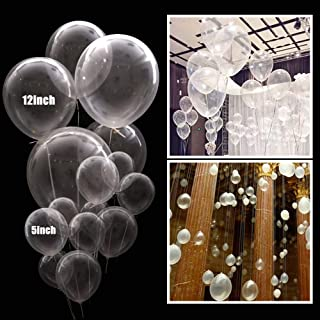 Aimto Clear Balloons Transparent Party Balloons Clear Bubble Balloons for Water Beads Party,5 Inch and 12inch–Pack of 100