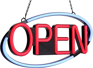 LED Neon Open Sign、22×11.5inch、 Flashing & Steady Light、Ultra-Long Power Cord for Business Bars Shops Windows Walls