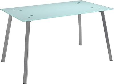 MOMMA HOME Mesa de Comedor - Modelo Alma - Color Blanco/Gris - Material Cristal Templado/Metal - Medidas 140x80x75 cm: Amazon.es: Hogar