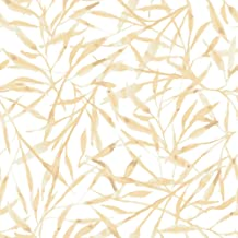 Tempaper Honey Wheat Watercolor Leaves Removable Peel and Stick Wallpaper, 20.5 in X 16.5 ft, Made in The USA