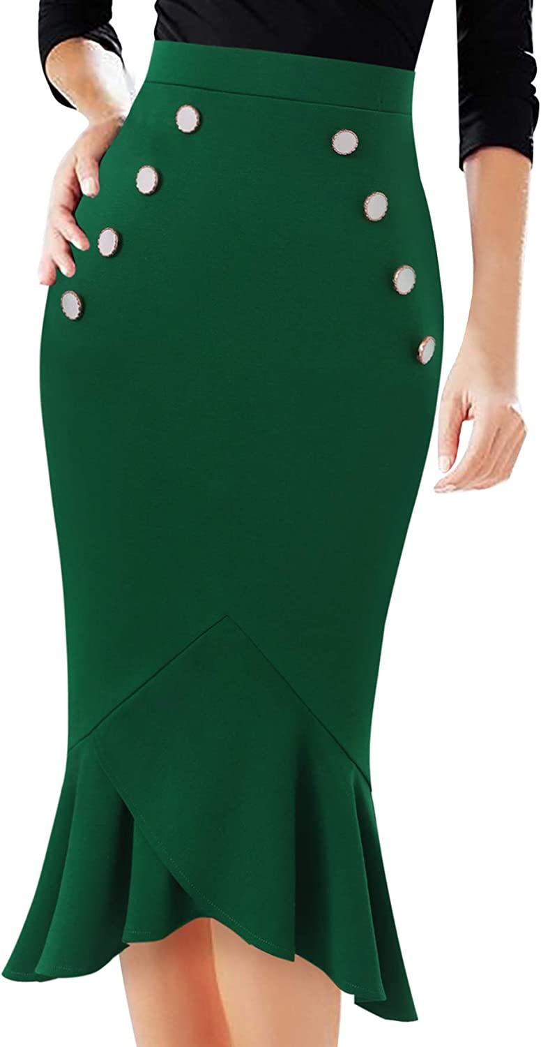 Vfshow Womens Vintage Buttons Work Business Party Mermaid Pencil Midi Skirt
