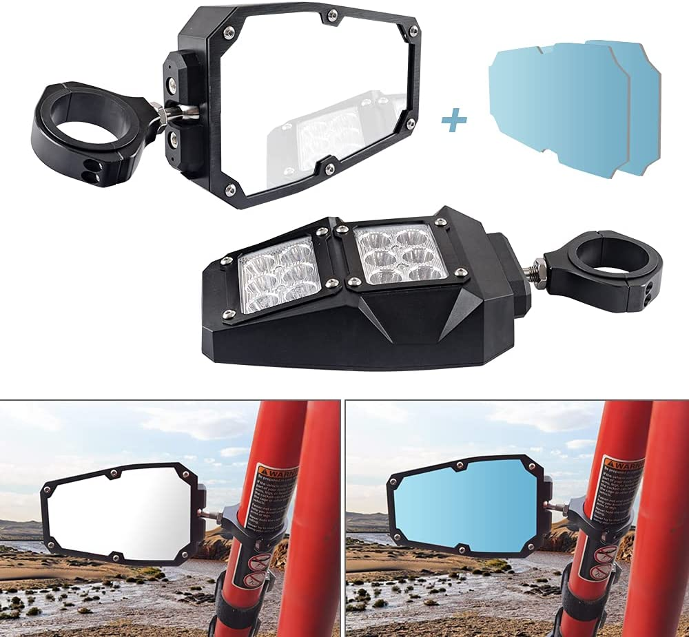 ZGAUTO Safety and trust Low price UTV Rear Side View Mirror with Spot Fits 1. LED Light For