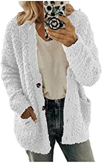 EnergyWD Women's Plus Size Buttoned Baggy Fuzzy Cardigan Jacket
