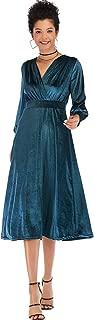 Deep V Neck Cross Wrap Front Long Sleeve Highwaist Velvet Pleated Midi A-Line Dress