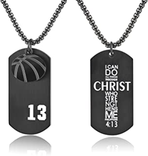 Men's Basketball Player Number 13 Stainless Steel Dog Tag Pendant I Can Do All Things Necklace