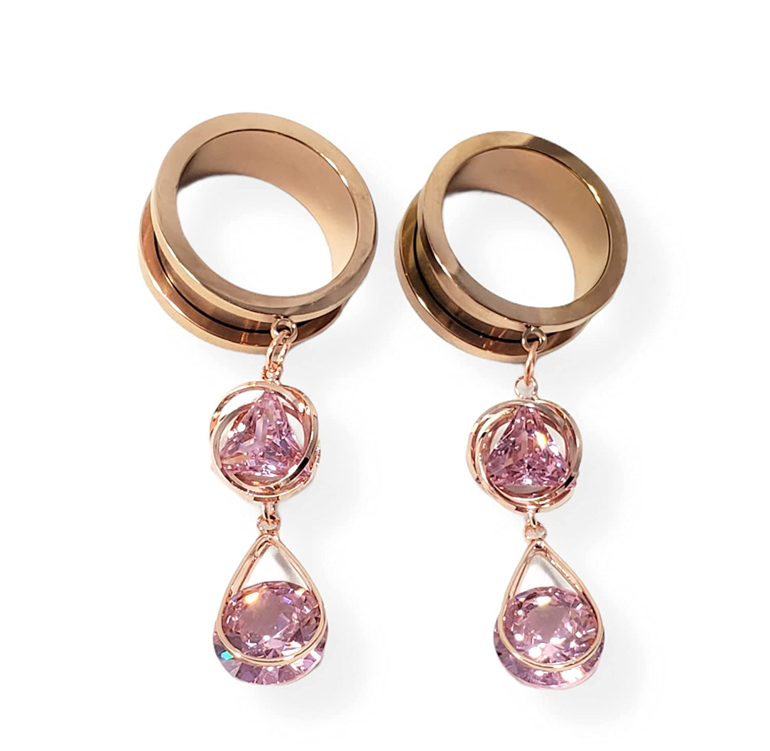22mm Rose Gold Max 86% OFF Pink Surprise price Crystal Dangle Plugs Tunnel Hanging Tun Pair