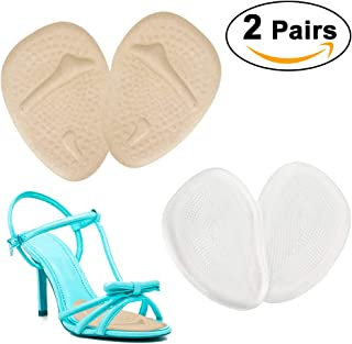 Metatarsal Pads for Women, Ball of Foot Cushions Shoe Inserts, Anti-Slip Shoe Insoles for All Day Pain Relief. (4PCS /2 Pairs, Beige & Clear)