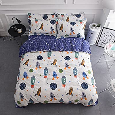 BuLuTu Cotton Twin/Full/Queen Bedding Duvet Cover Sets(1 Duvet Cover 2 Pillow Shams) Cartoon Styles US Queen Full Quilt Bedding Cover Sets with 4 Corner Ties Wholesale(Turquoise Blue/White)