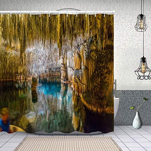 Cortina de Baño con 12 Ganchos,calas del drac Mallorca,Cortina Ducha Tela Resistente al Agua para baño,bañera 150X180cm