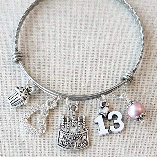 13th BIRTHDAY GIRL Bracelet Happy Birthday Charm Teenage Daughter Gift Ideas
