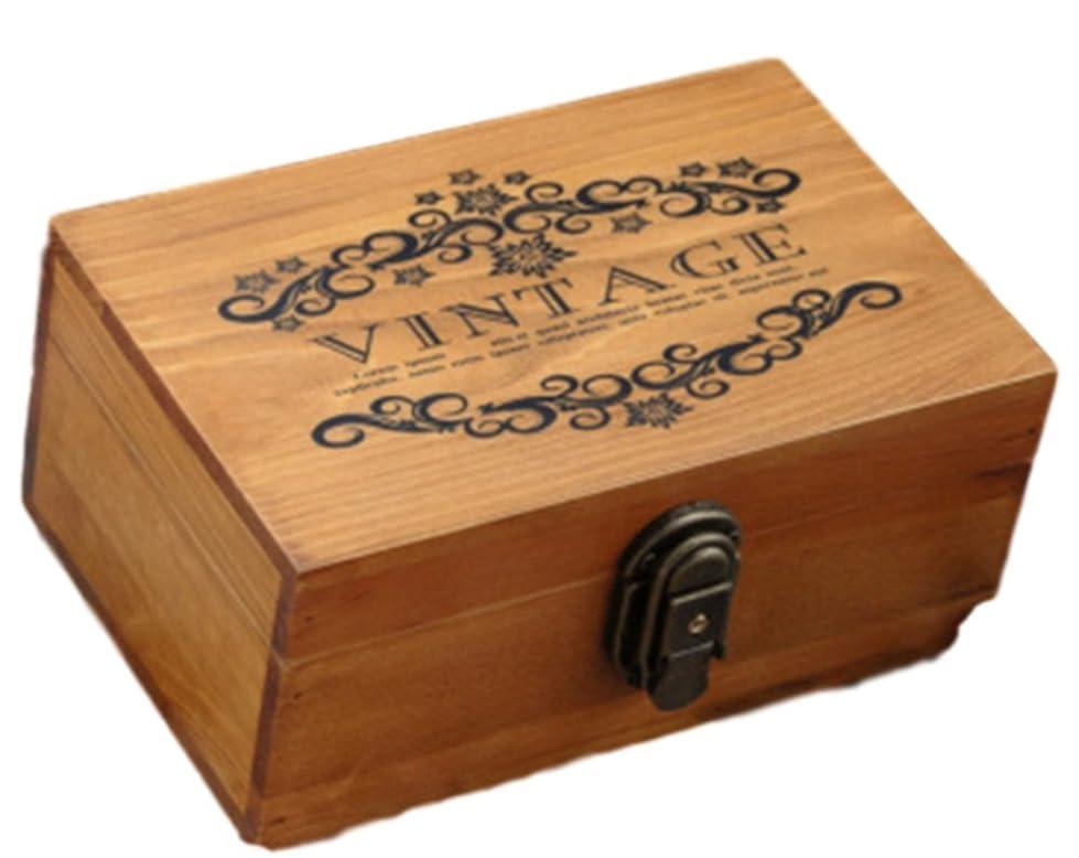 不可能な支店人しあわせ倉庫 アンティーク 調 おしゃれ 木製 収納ボックス 木箱 北欧 インテリア 鍵付き 宝箱 (ブラウン)