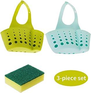 Soporte de fregadero de esponja 2 en 1 Cesta de almacenamiento de gadgets de cocina ajustable para cocina Cestas de almacenamiento de organización de baño con orificios de drenaje sanitario