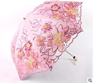 European Court Style Embroidered Lace Umbrella Double Layer Princess Vinyl Anti Hyococ (Color : Pink)