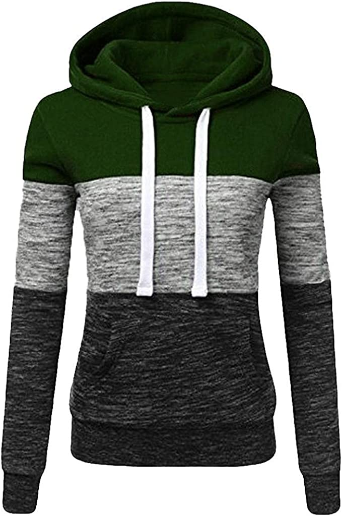 Women Casual Hooded Sweatshirt Winter Color Block Fashion Sweater Outwear Long Sleeve Drawstring Pocket Pullover Tops