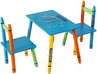 comprar comparacion Kiddi Style Mesa y Sillas Infantiles - Madera - Par Ninos -Diseño de ceras de colores
