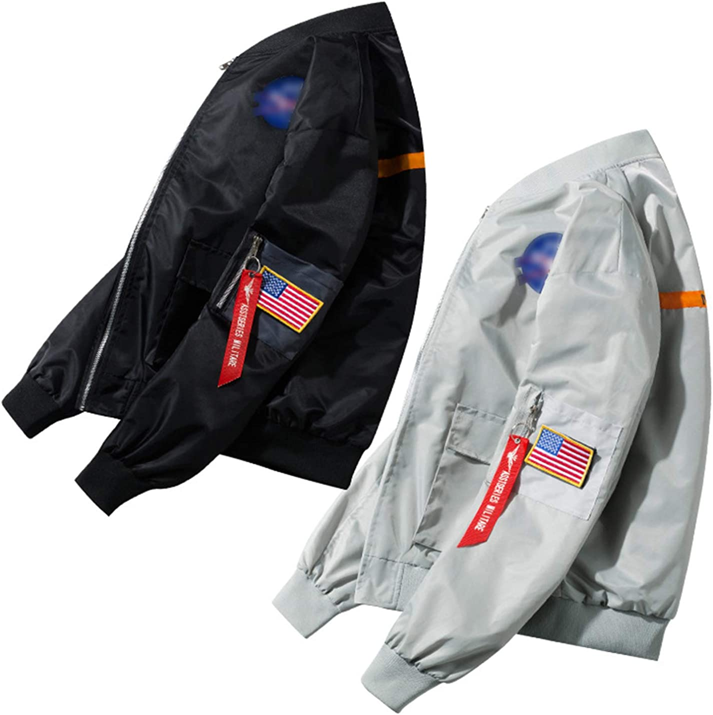PEHMEA Mens Casual Long-Sleeve NASA Air Force Full-Zip Flight Bomber Jacket Coat Windbreaker