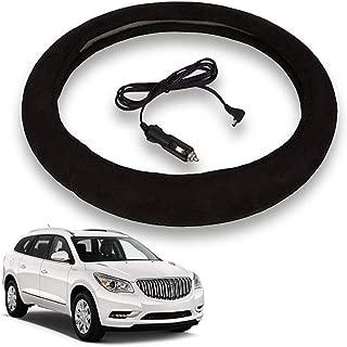 VaygWay Heated Steering Wheel Cover- 12V Black Warmer Car Steering Heater- 15 inch Electrical Wheel Cover