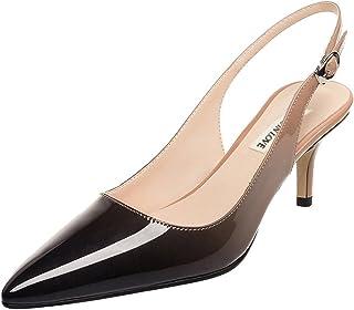 June in Love Women's Kitten Heels Pumps Pointy Toe Slingback Sandals Shoes for Usual Daily Wear