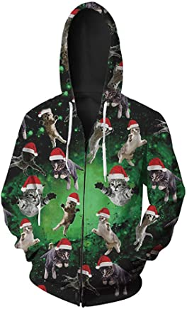 GMYANWY Autumn new Christmas cat print men's cardigan hooded sweater tide zipper men's sweater