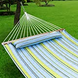 Quilted Fabric Hammock with Pillow, Spreader Bar Portable Outdoor Camping Hammock for Patio Yard Heavy Duty(450lbs Capacity