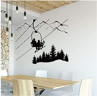 Skiing Wall Decal Living Room Skier Ski Lift Chair Mountain Pine Tree Sticker Winter Sports Vinyl Wall Stickers Home Decor 67x57cm