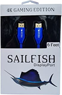 Sailfish DisplayPort to DisplayPort Cable 4K Resolution Gaming Edition, HDR & FreeSync, Cable Wrap Included (6 Feet, Blue)