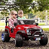 Moderno Kids Trail Explorer 12V Power Children Ride-On Car Truck with R/C Parental Remote + EVA Foam Rubber LED Wheels + Leather Seat + Bluetooth MP3 Music Player + FM Radio + LED Lights