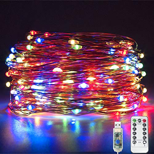 Fairy String Lights, 20M/66Ft 200 LED Fairy Lights Plug in USB Powered Firefly Lights 8 Modes, Waterproof Copper String Lights Outdoor/Indoor with Remote Timer for Bedroom, Party, Xmas (Multicolour)