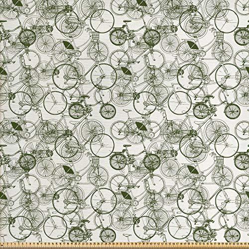 ABAKUHAUS Incompleto Tela por Metro, Bicicleta Retro Vintage, Decorativa para Tapicería y Textiles del Hogar, 1M (148x100cm), En Blanco Y Negro