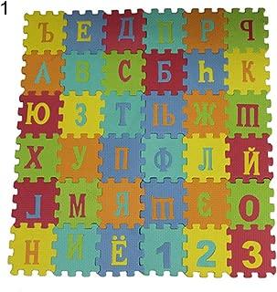 TbpersicwT Home bedroom carpet door mat, 90cm Russian Arabic Alphabet Kids Carpet Foam EVA Shaggy Puzzle Crawling Mat - Russian Letters