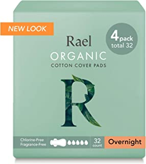 Rael Organic Cotton Menstrual Pads - Ultra Thin & Light Natural Sanitary Napkins with Wings (32 Total), Pack of 4