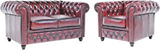 The Chesterfield Brand- Sofás Chester Brighton Rojo Gastado - 1 / 2 plazas - Hecho artesanal en cuero natural