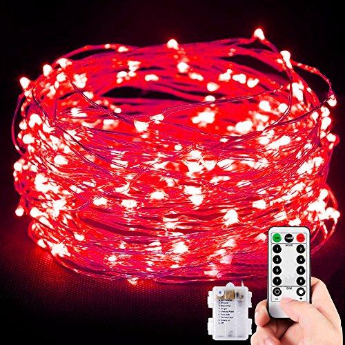 Stringa Luci, 10M 100 LED Catene Luminose Impermeabile Filo d'Argento di 8 Modalità di Luci con Telecomando per Illuminazione Fai da Te, Natale, Decorazioni per Feste, Giardino, Matrimoni ecc (Verde)