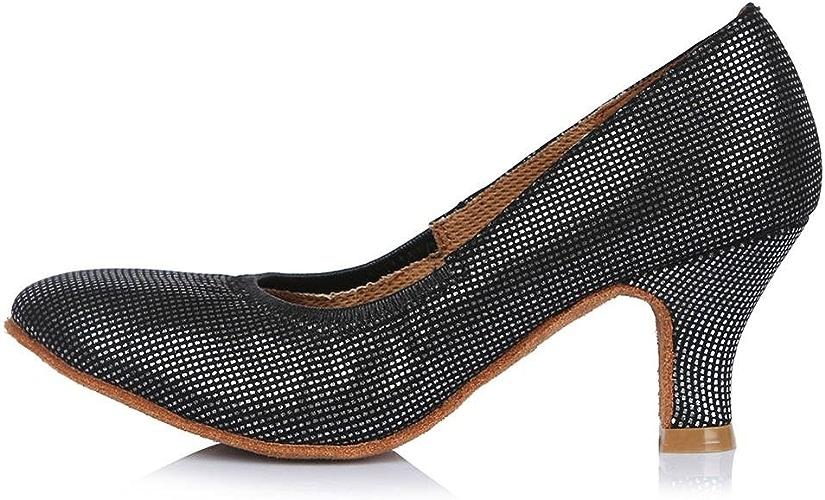 YFF Toe fermé professionnel Chaussures de Danse Moderne de bal en cuir Chaussures de Danse Tango Salsa Party danse latine Chaussures femmes filles ,58mm 30626,7