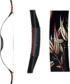 TOPARCHERY Traditional Handmade Longbow Archery Horsebow Hunting Recurve Bow with Embroidered Satin Cover 30-50 lbs