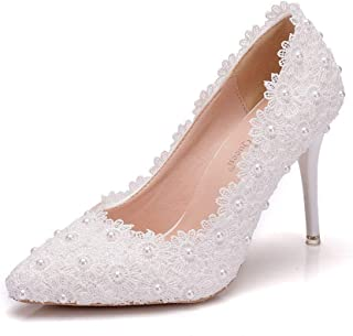 DXX White Lace Bridal Wedding Pumps Thin High Heels Pointed Toe Beading Shoes White Lace High Heels for Wedding Party Evening