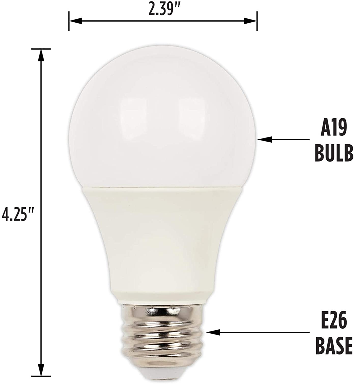 Medium Base 6 Pack Clear A19 Bright White LED Light Bulb 100 Watt Equivalent Westinghouse Lighting 5228020 14 Watt