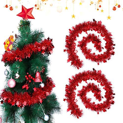Sunshine smile 2 PCSWeihnachten Lametta Girlande,Metallische Girlanden,Glänzend Weihnachtsbaum Ornamente,Weihnachten Lametta,Weihnachten Girlande Metallisch,Festliches Weihnachten Lametta(rot)