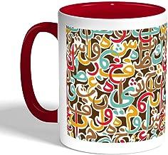 كوب سيراميك للقهوة بطبعة احرف عربية متبعثرة ، لون احمر
