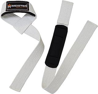 Meister Neoprene-Padded No-Slip Weight Lifting Straps for Grip (Pair) - White