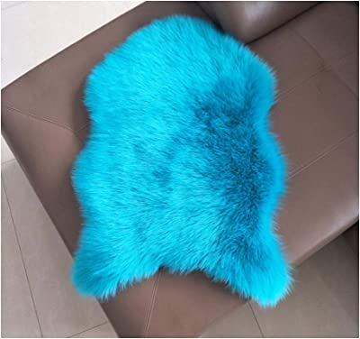 YYJF Artificial Wool Carpet Soft Fluffy Living Room Plush Sofa Bay Window Cushion Indoor Decorations (Color : Dark Blue, Size : 9090 Round)