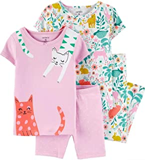 Carter's Toddler and Baby Girls' 4 Piece Cotton Pajama Set (Floral Cat, 4T)