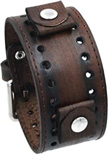 Nemesis FSB-B Distressed Wash Out Brown Wide Leather Cuff Wrist Watch Band