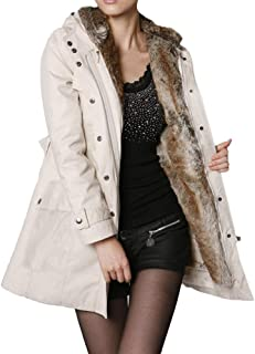 KASAAS Women's Coat, Solid Faux Fur Lining Long Sleeve Winter Keep Warm Thick Long Casual Hooded Parka Jackets Tops
