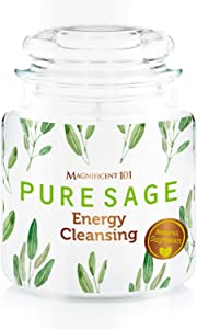 MAGNIFICENT 101 Pure SAGE Smudge Glass Jar Candle for House Energy Cleansing, Banishes Negative Energy I Purification and Chakra Healing - Natural Soy Wax Tin Candle 14.5oz