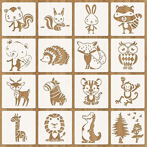 Tiermalerei Schablone, 16 Stück Zeichenschablonen Malschablonen aus Kunststoff, Stencil Schablonen Wiederverwendbar für Scrapbooking Fotoalbum, DIY Geschenkkarten, Geschenke Kinder