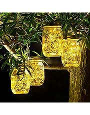 4 Pack Luz Solar Exterior - 30 LED Lamparas Solares de Jardin IP65 Impermeable Luces Solares LED Exterior Jardin Lámparas Solares Exterior para Decoracion Jardin Balcón Terraza Arboles(Blanco Cálido)