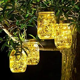 SUNACE Lumière Solaire Extérieur Jardin – Lanterne Solaire 30 LED, 4 Pièces Imperméable à l'eau Mason Jar Lampes…