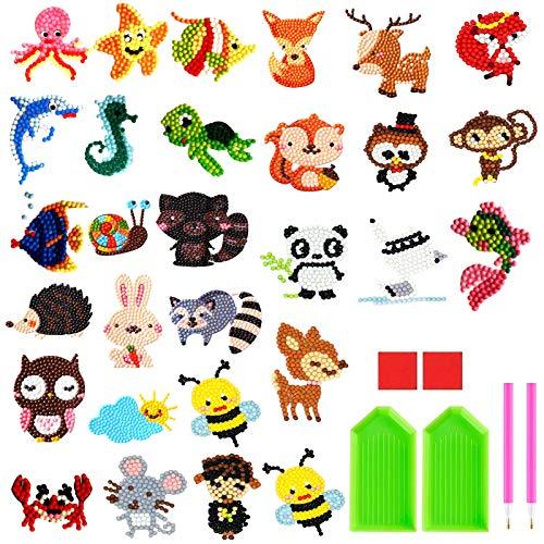 NATUCE 29 piezas DIY 5d Diamante Stickers Kit de Pintura Diamond Painting para Niños, Animales Dotz Rompecabezas De Diamantes Etiqueta para Adultos Principiantes